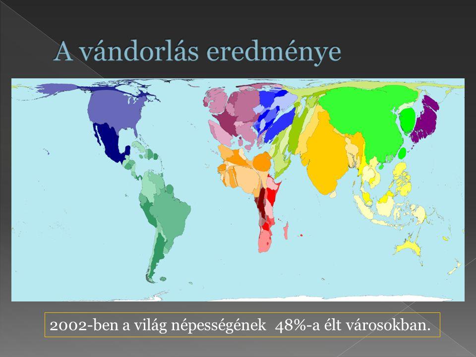 A vándorlás eredménye 2002-ben a világ népességének 48%-a élt városokban.