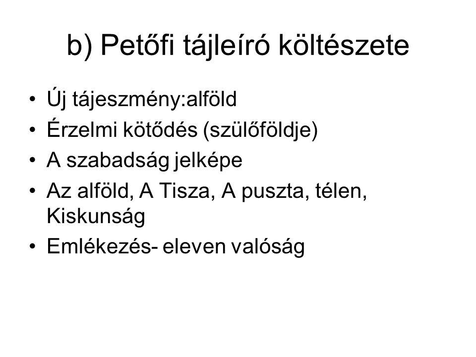 b) Petőfi tájleíró költészete