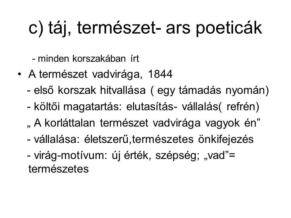 c) táj, természet- ars poeticák