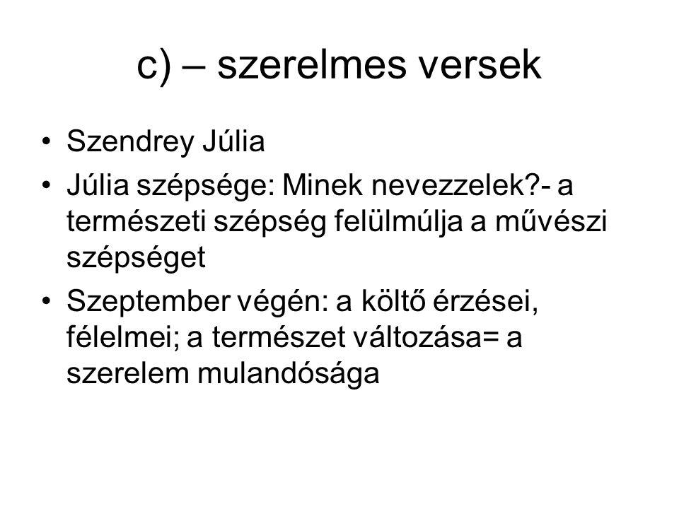 c) – szerelmes versek Szendrey Júlia