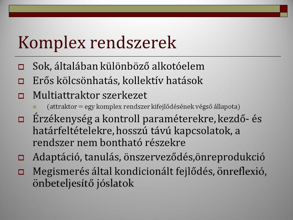 Komplex rendszerek Sok, általában különböző alkotóelem