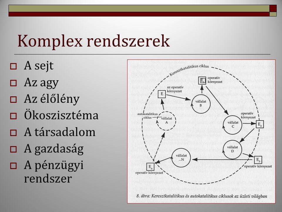 Komplex rendszerek A sejt Az agy Az élőlény Ökoszisztéma A társadalom