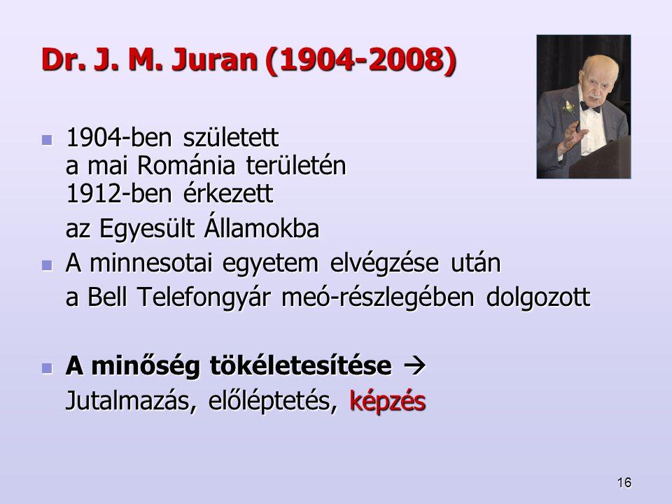 Dr. J. M. Juran (1904-2008) 1904-ben született a mai Románia területén 1912-ben érkezett. az Egyesült Államokba.