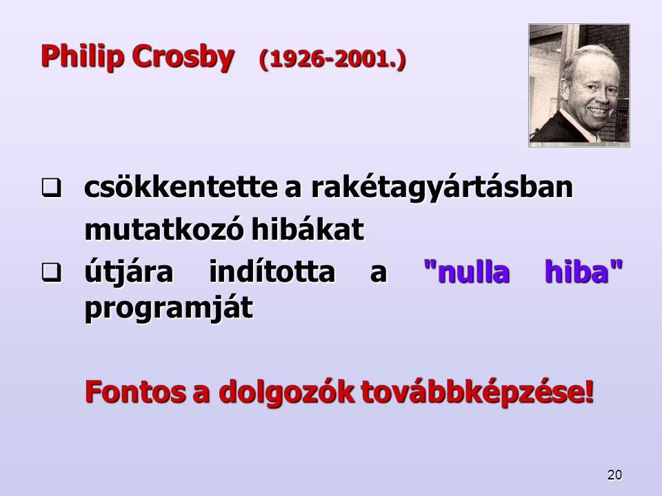 Philip Crosby (1926-2001.) csökkentette a rakétagyártásban. mutatkozó hibákat. útjára indította a nulla hiba programját.