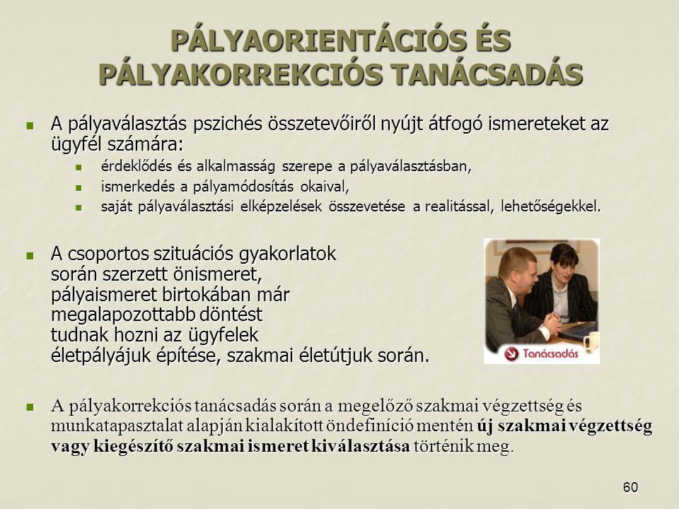 PÁLYAORIENTÁCIÓS ÉS PÁLYAKORREKCIÓS TANÁCSADÁS