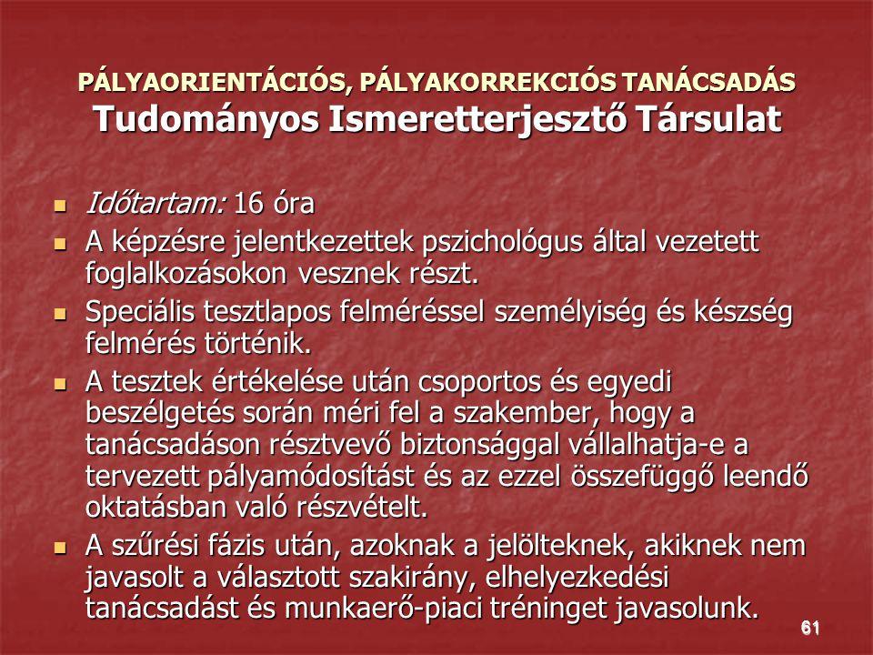 PÁLYAORIENTÁCIÓS, PÁLYAKORREKCIÓS TANÁCSADÁS Tudományos Ismeretterjesztő Társulat