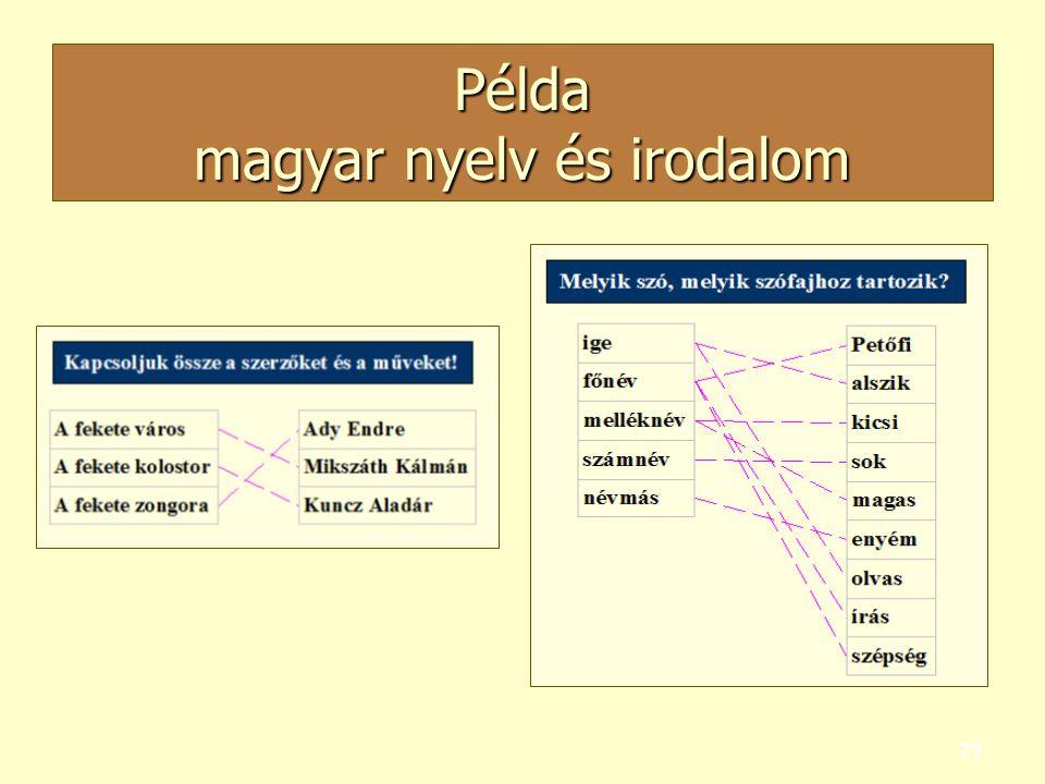 Példa magyar nyelv és irodalom