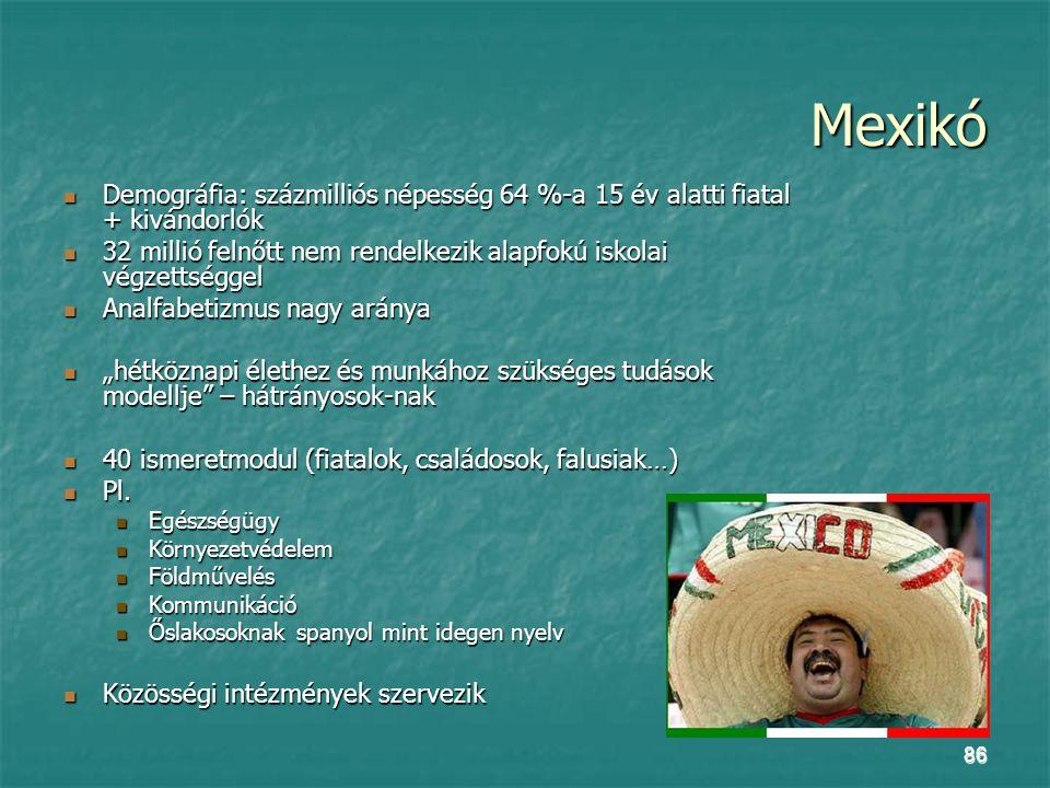 Mexikó Demográfia: százmilliós népesség 64 %-a 15 év alatti fiatal + kivándorlók. 32 millió felnőtt nem rendelkezik alapfokú iskolai végzettséggel.