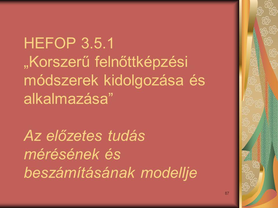 """HEFOP 3.5.1 """"Korszerű felnőttképzési módszerek kidolgozása és alkalmazása Az előzetes tudás mérésének és beszámításának modellje"""