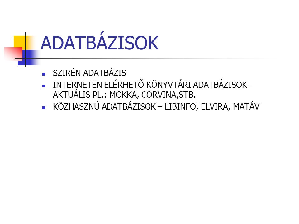 ADATBÁZISOK SZIRÉN ADATBÁZIS