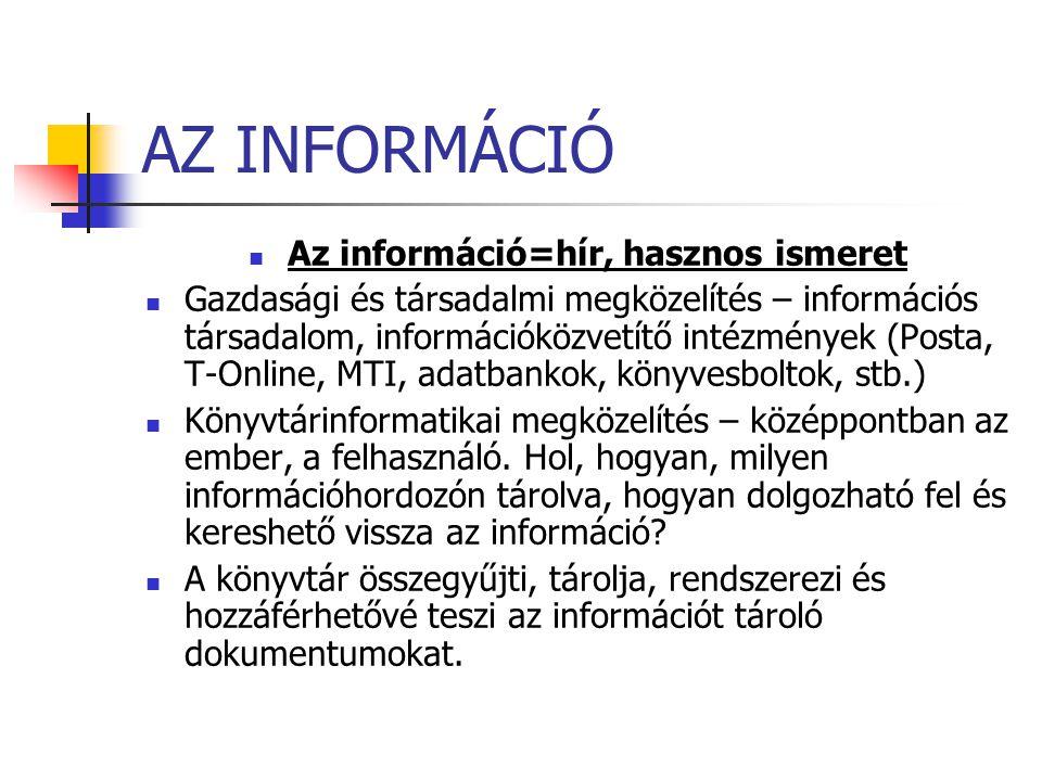Az információ=hír, hasznos ismeret