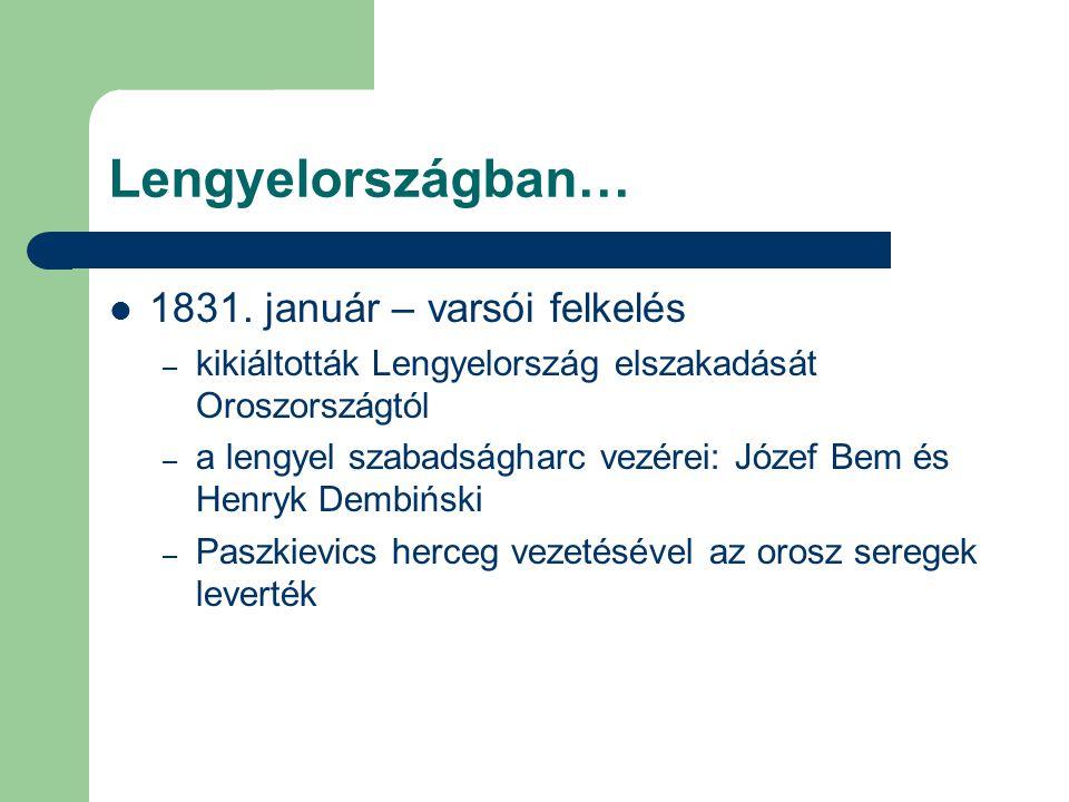 Lengyelországban… 1831. január – varsói felkelés