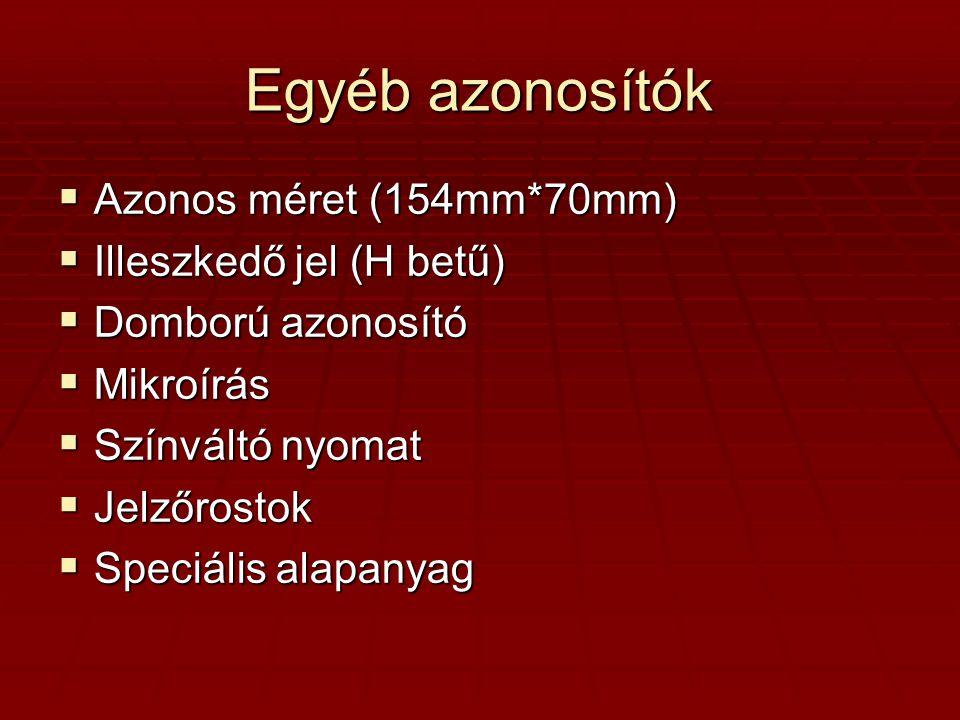 Egyéb azonosítók Azonos méret (154mm*70mm) Illeszkedő jel (H betű)