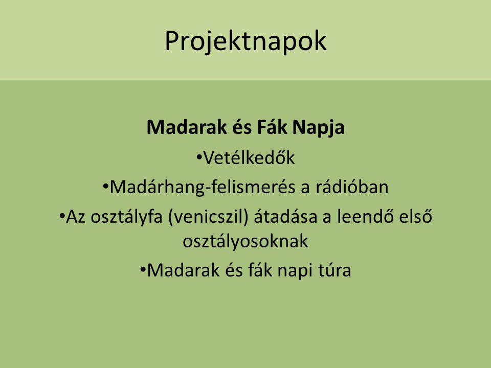 Projektnapok Madarak és Fák Napja Vetélkedők