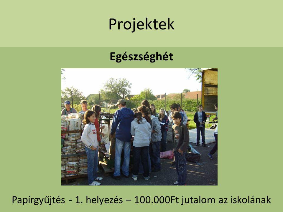 Papírgyűjtés - 1. helyezés – 100.000Ft jutalom az iskolának