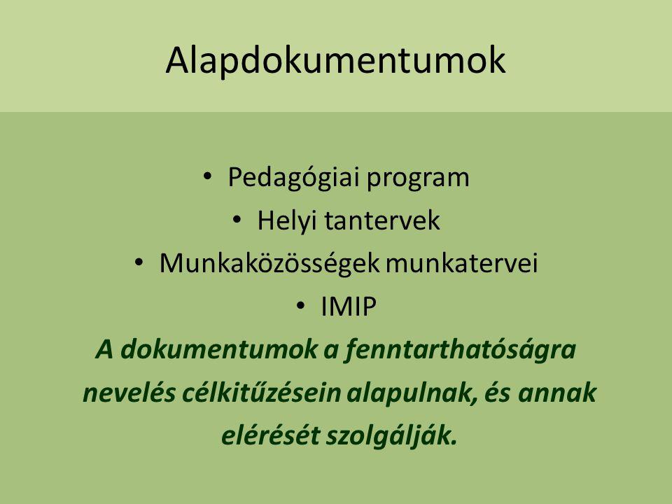 Alapdokumentumok Pedagógiai program Helyi tantervek