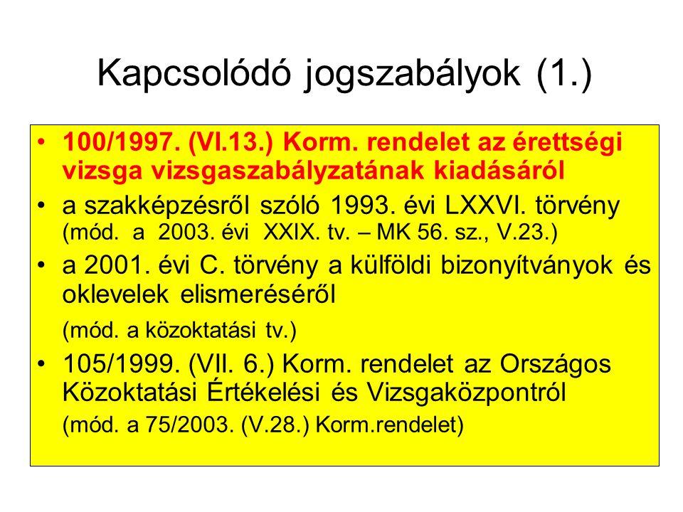 Kapcsolódó jogszabályok (1.)