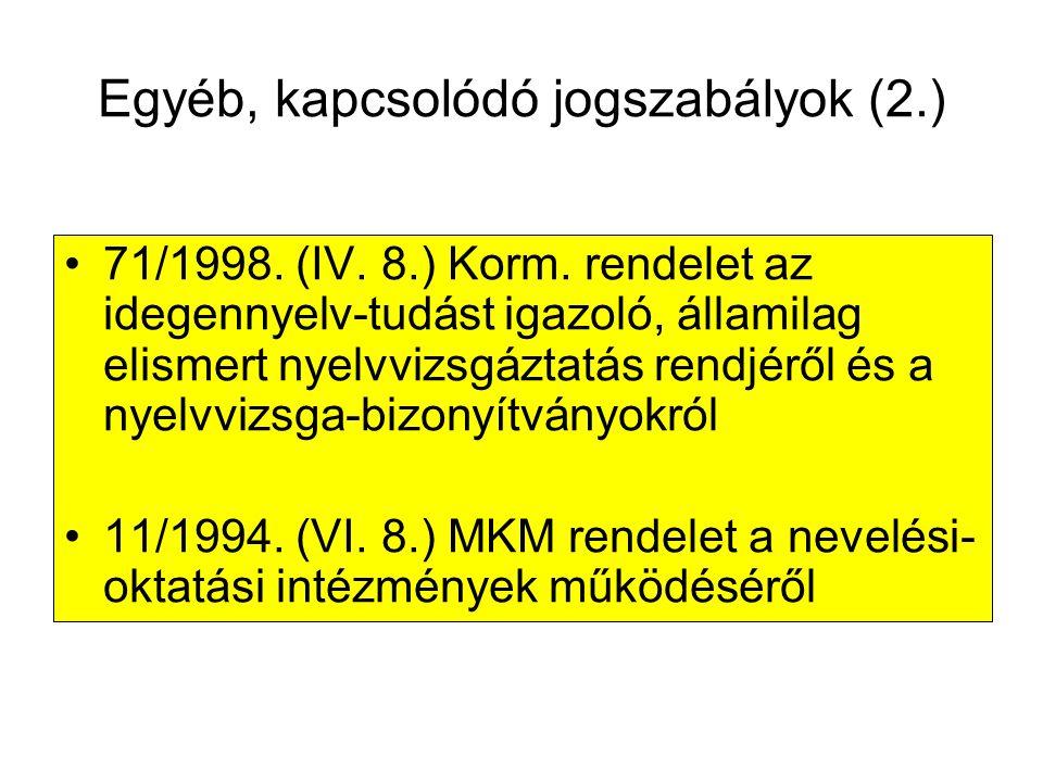 Egyéb, kapcsolódó jogszabályok (2.)
