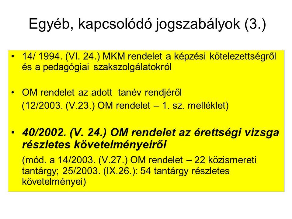 Egyéb, kapcsolódó jogszabályok (3.)