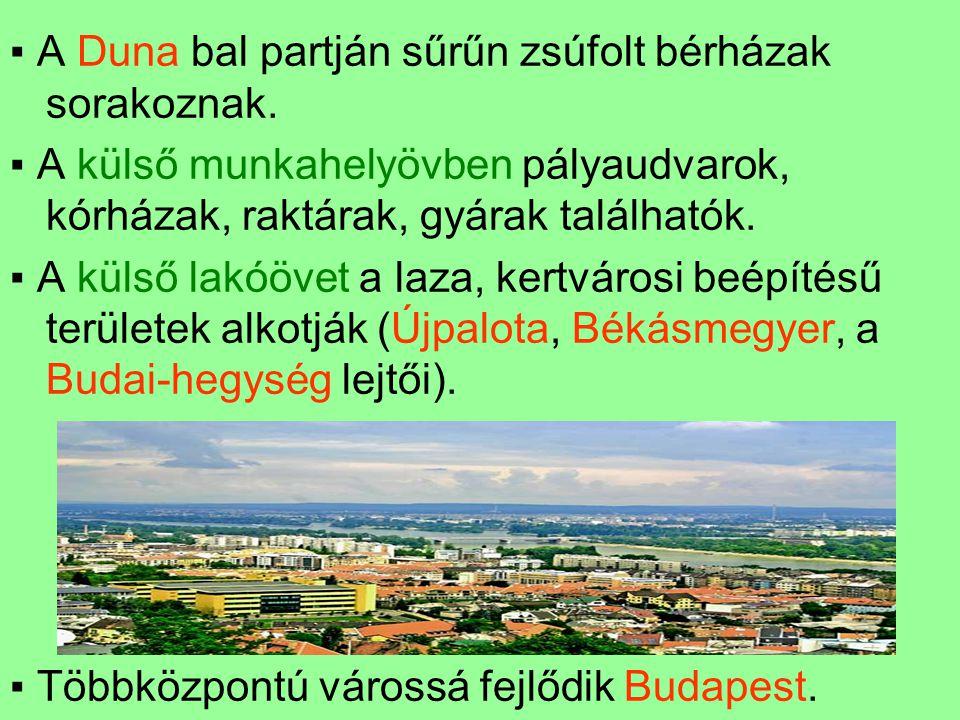 ▪ A Duna bal partján sűrűn zsúfolt bérházak sorakoznak.