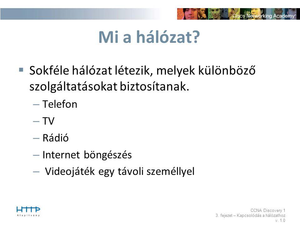 Mi a hálózat Sokféle hálózat létezik, melyek különböző szolgáltatásokat biztosítanak. Telefon. TV.