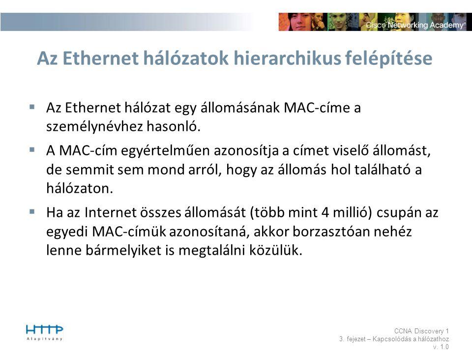 Az Ethernet hálózatok hierarchikus felépítése