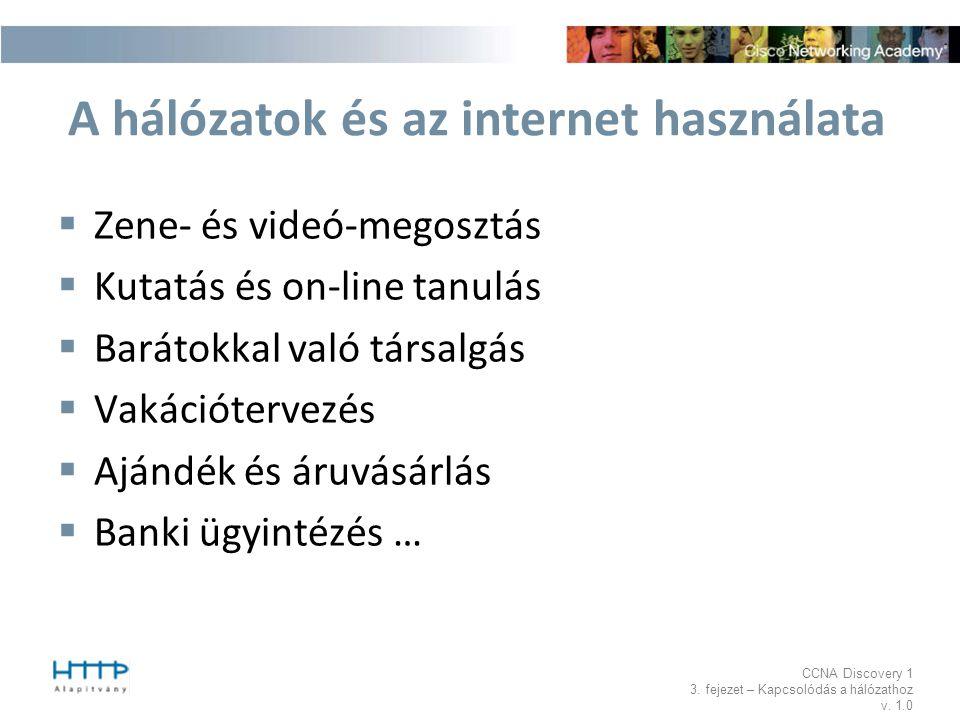 A hálózatok és az internet használata