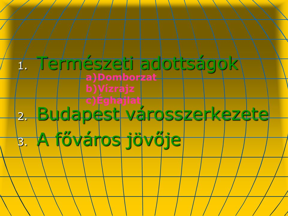 Természeti adottságok Budapest városszerkezete A főváros jövője