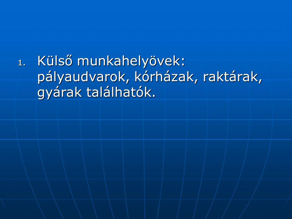 Külső munkahelyövek: pályaudvarok, kórházak, raktárak, gyárak találhatók.