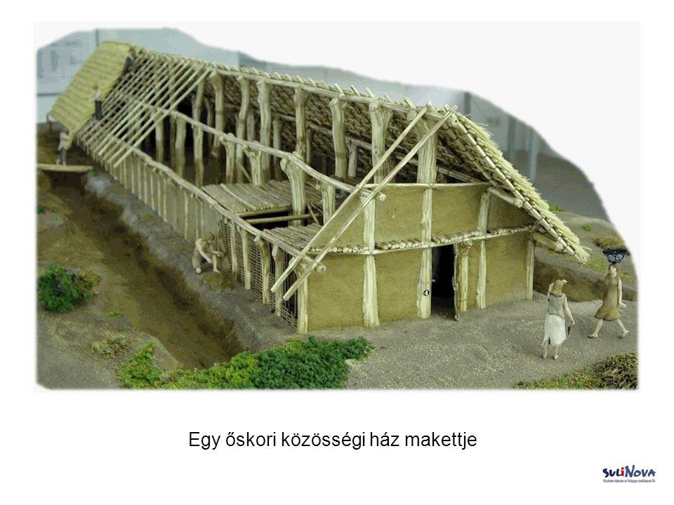 Egy őskori közösségi ház makettje