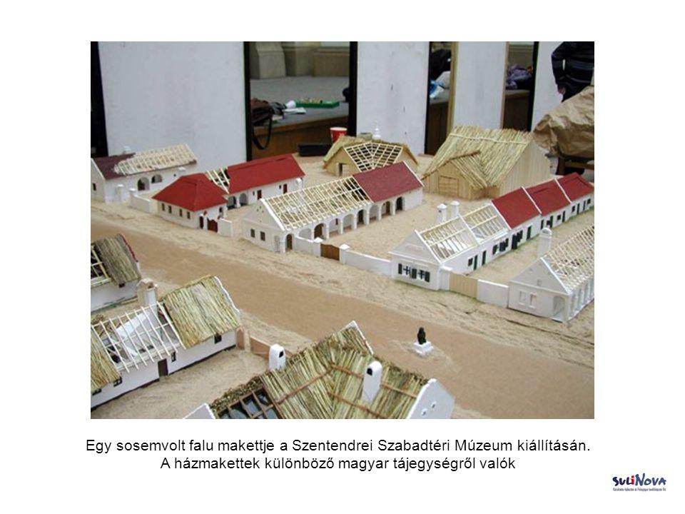 Egy sosemvolt falu makettje a Szentendrei Szabadtéri Múzeum kiállításán.