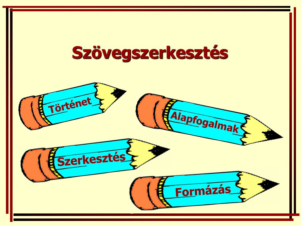 Szövegszerkesztés Történet Alapfogalmak Szerkesztés Formázás