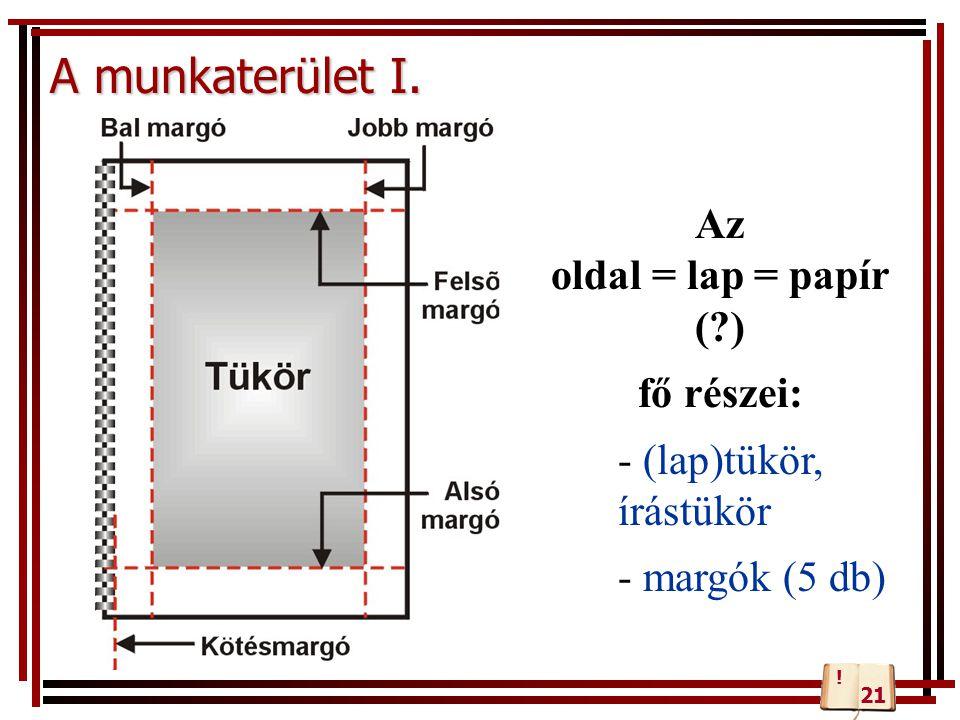 A munkaterület I. Az oldal = lap = papír ( ) fő részei: