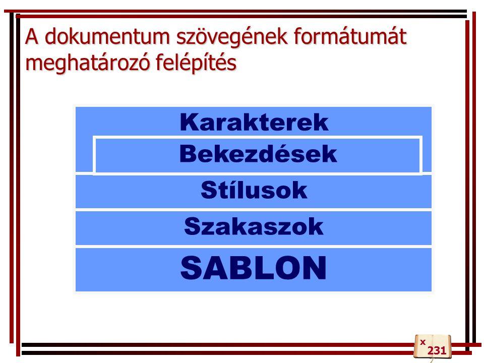 A dokumentum szövegének formátumát meghatározó felépítés