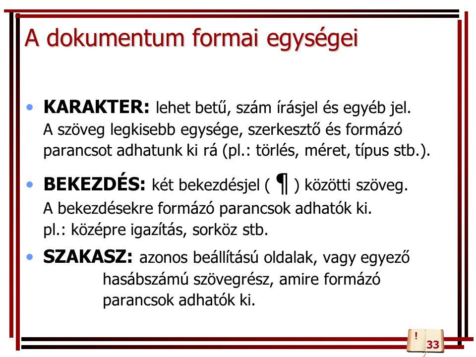 A dokumentum formai egységei