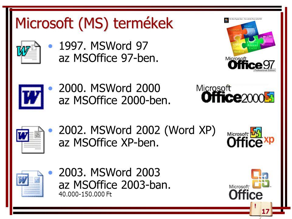 Microsoft (MS) termékek