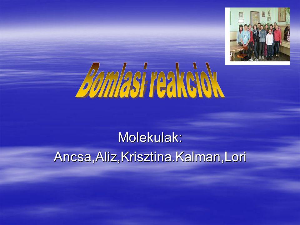 Molekulak: Ancsa,Aliz,Krisztina.Kalman,Lori