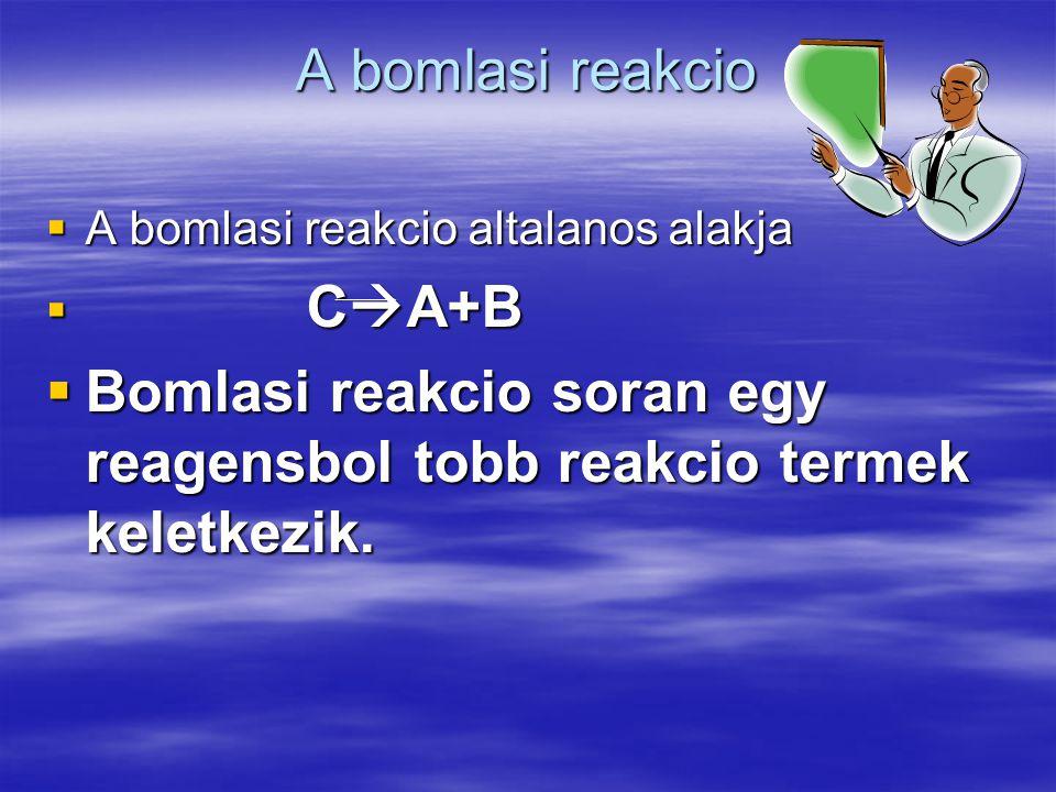 Bomlasi reakcio soran egy reagensbol tobb reakcio termek keletkezik.