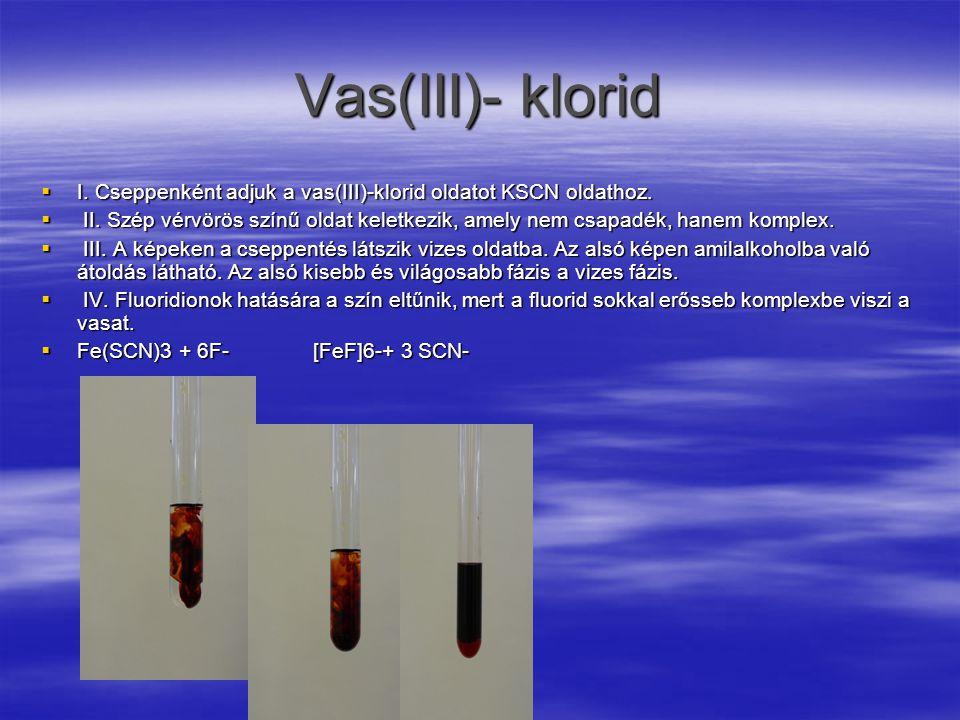 Vas(III)- klorid I. Cseppenként adjuk a vas(III)-klorid oldatot KSCN oldathoz.