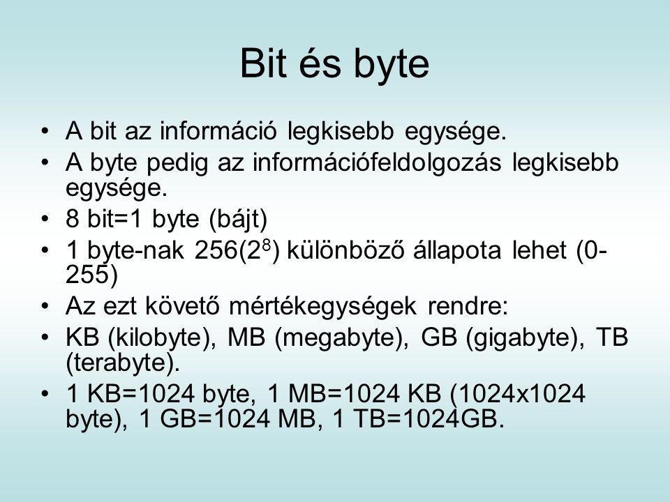 Bit és byte A bit az információ legkisebb egysége.