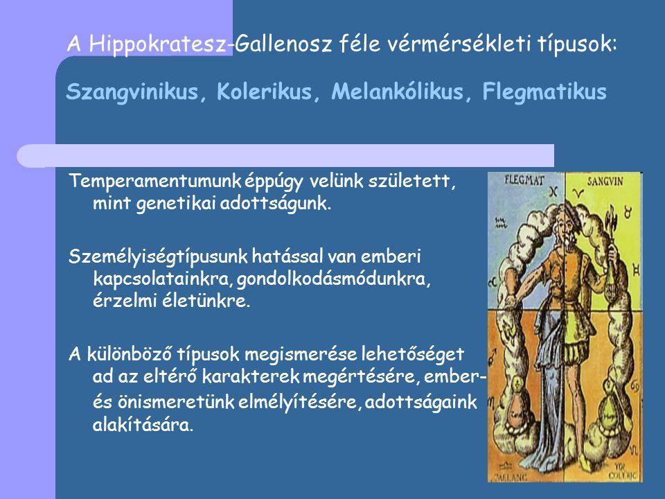 A Hippokratesz-Gallenosz féle vérmérsékleti típusok: Szangvinikus, Kolerikus, Melankólikus, Flegmatikus