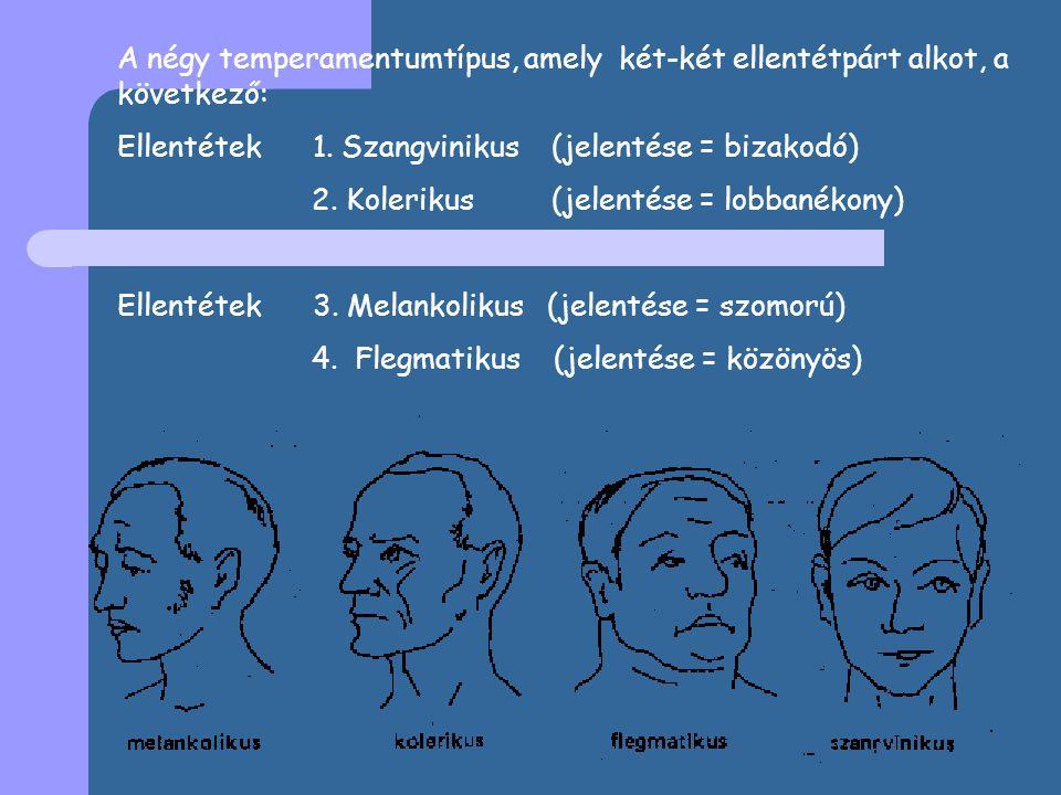 A négy temperamentumtípus, amely két-két ellentétpárt alkot, a következő: