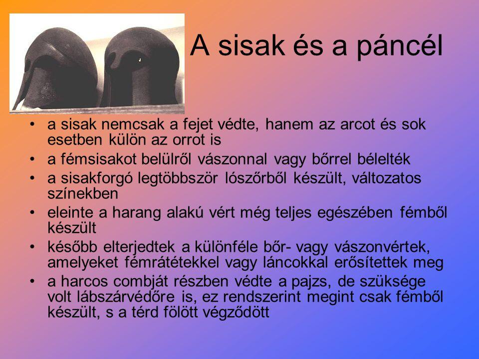 A sisak és a páncél a sisak nemcsak a fejet védte, hanem az arcot és sok esetben külön az orrot is.