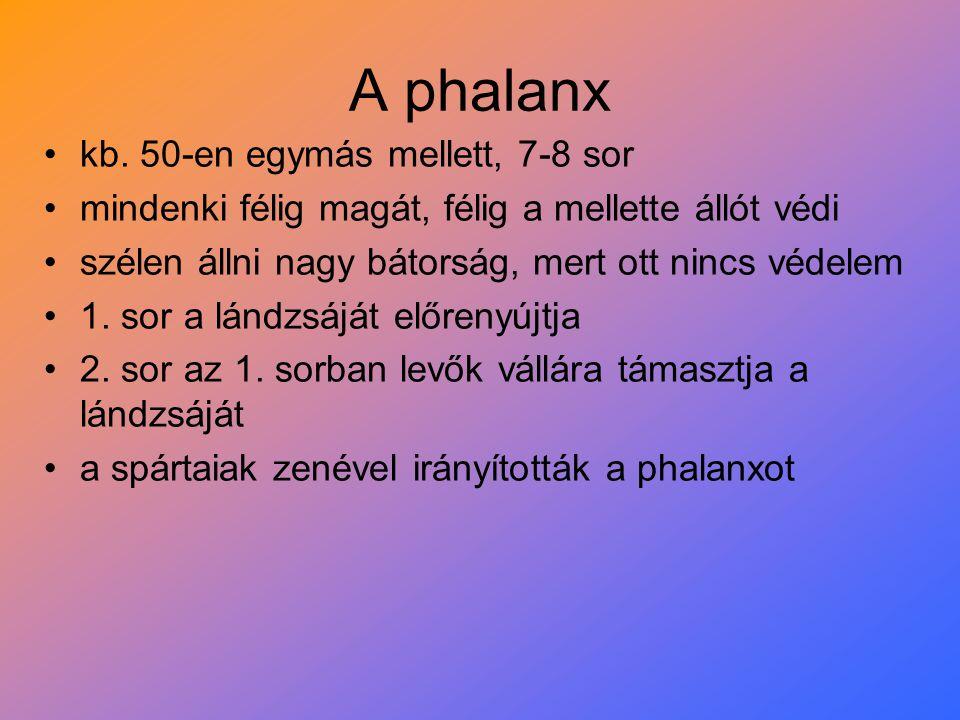 A phalanx kb. 50-en egymás mellett, 7-8 sor
