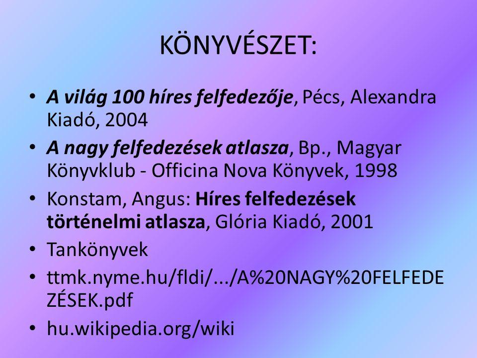 KÖNYVÉSZET: A világ 100 híres felfedezője, Pécs, Alexandra Kiadó, 2004