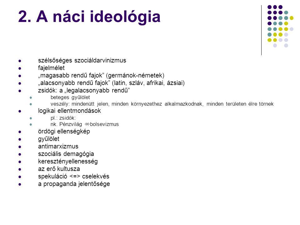 2. A náci ideológia szélsőséges szociáldarvinizmus fajelmélet