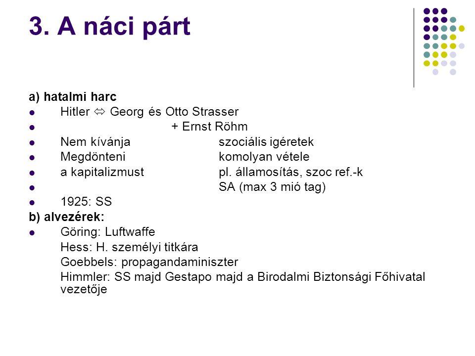 3. A náci párt a) hatalmi harc Hitler  Georg és Otto Strasser