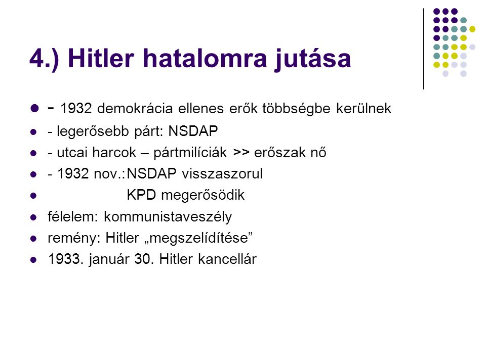 4.) Hitler hatalomra jutása