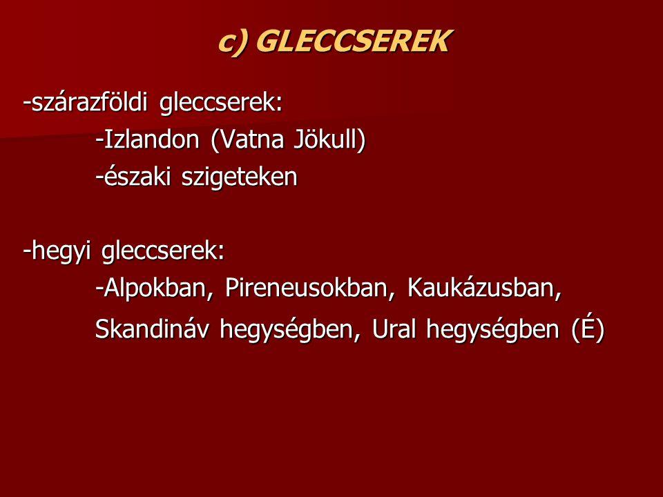c) GLECCSEREK -szárazföldi gleccserek: -Izlandon (Vatna Jökull)
