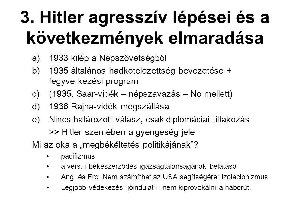 3. Hitler agresszív lépései és a következmények elmaradása